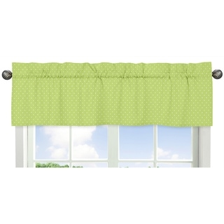 Sweet Jojo Designs Polka Dot Print Window Valance for the Turquoise and Lime Hooty Collection