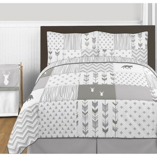Sweet Jojo Designs Grey and White Woodsy Collection 3-piece Full/Queen Comforter Set