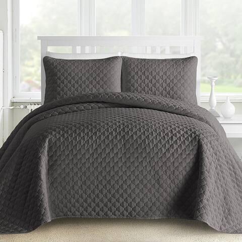 Kotter Home Lightweight Ogee 3-Piece Oversized Quilt / Coverlet Set