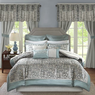 Madison Park Essentials Cadence Teal Jacquard Paisley 24 Pieces Room in a Bag - Sheet Set & Window Curtain Inlcuded (As Is Item)
