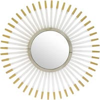Gedeon Framed Goldtone Glass 39-inch Beveled Wall Mirror