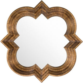 "Yuzuki Gold Framed Quatrefoil 34"" x 34"" Wall Mirror - 34"" x 34"""