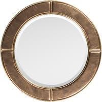 """Lazaros Bronze Faux Leather Framed 32"""" x 32"""" Beveled Wall Mirror"""