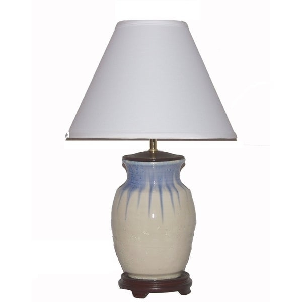 Crown Lighting 1-light White/Blue Ceramic Table Lamp
