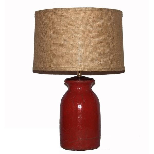 Crown Lighting 1-light Rustic Brick Red Ceramic Table Lamp