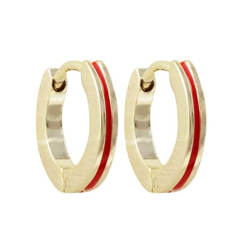 Luxiro Gold Finish Red Enamel Stripe Children's Hoop Earrings