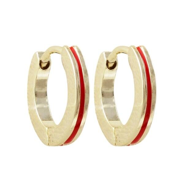 Luxiro Gold Finish Red Enamel Stripe Children's Hoop Earrings. Opens flyout.