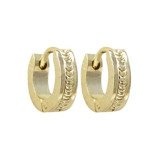 Luxiro Textured Gold Finish Children's Hoop Earrings