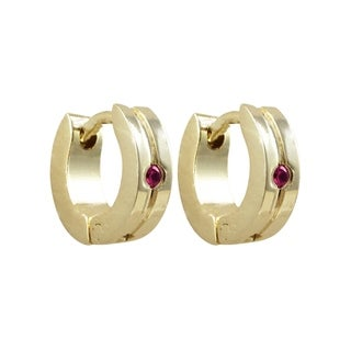 Luxiro Gold Finish Pink Cubic Zirconia Children's Hoop Earrings