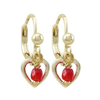 Luxiro Gold Finish Open Heart Red 3mm Crystal Bead Children's Dangling Earrings