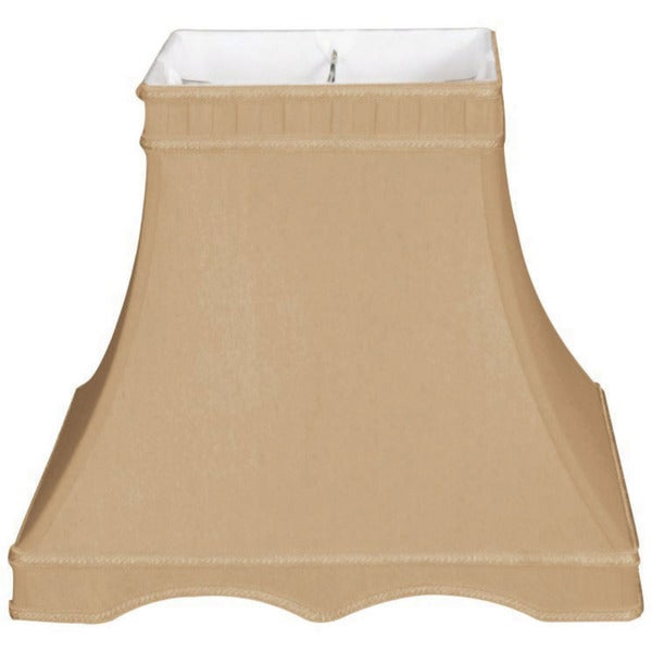 Royal Designs Square Bell with Gallery Designer Lamp Shade, Antique Gold, 7 x 12 x 12.5