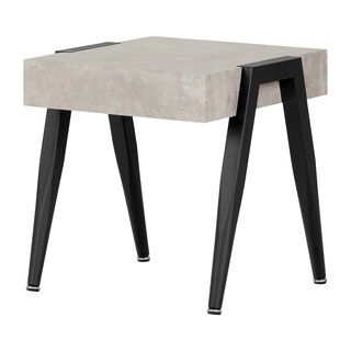 South Shore City Life Grey Concrete and Black Wood End Table