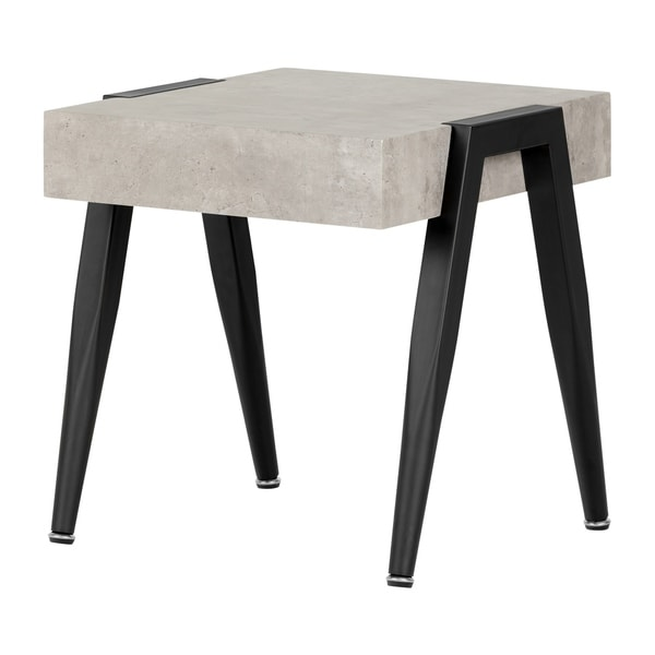 Amazing South Shore City Life Grey Concrete And Black Wood End Table