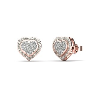 AALILLY 10k Rose Gold 1/8ct TDW Diamond Heart Stud Earrings (H-I, I1-I2)