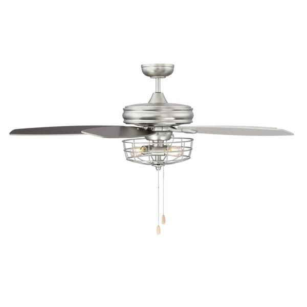 shop 52 in  3-light brushed nickel ceiling fan with metal wire cage - silver
