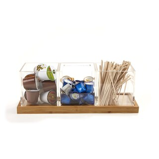 Mind Reader 4 Piece Acrylic Condiment Organizer With Bamboo Base, Clear