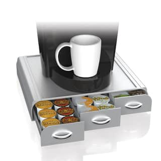 Mind Reader 'Anchor' Coffee Pod Triple Drawer 36 capacity, Silver|https://ak1.ostkcdn.com/images/products/18127670/P24280460.jpg?impolicy=medium