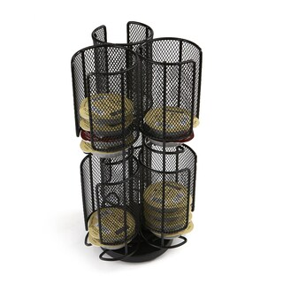 Mind Reader 2 Tier Mesh Spinning Tassimo Storage Rack, Black