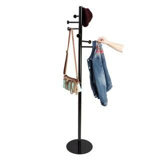 Mind Reader Free Standing 7 Hook Metal Coat and Hat Rack, Black