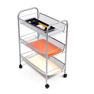 Mind Reader 'Roll ' Rolling Metal Mesh 3 Shelf Cart, Black