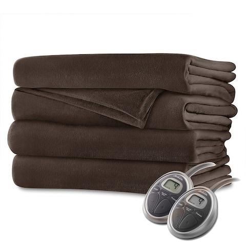 Sunbeam Velvet Plush Electric Heated Blanket Queen Size Walnut Brown