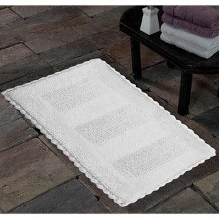 Saffron Fabs Handmade Soft Cotton Reversible Crochet Lace Border Bath Rug (As Is Item)|https://ak1.ostkcdn.com/images/products/18127702/P91027199.jpg?impolicy=medium