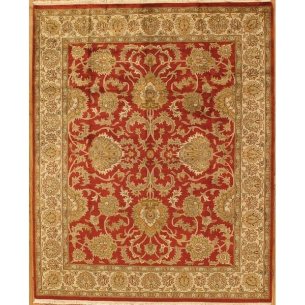 Pasargad Khotan Persian Wool Area Rug 8 X10: Shop Pasargad Tabriz Collection Rust/Ivory Hand-Knotted