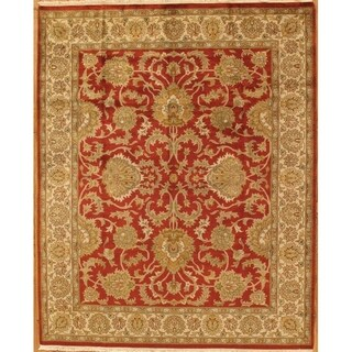 "Tabriz Collection Hand-Knotted Rust/Ivory Wool Area Rug ( 8'10"" X 11' 8"")"