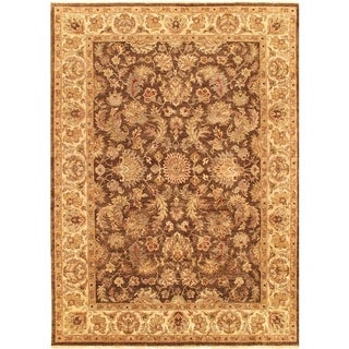 "Pasargad Agra Brown/Ivory Collection Hand-Knotted Wool Rug ( 9' 0"" X 12' 0"") - 9' x 12'"