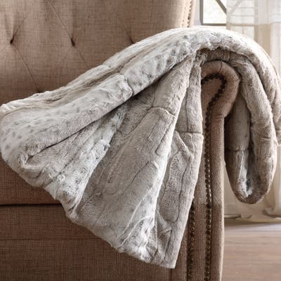 Christian Siriano NY® 60 x 70 Oversized Snow Leopard Neutral Faux Fur Filled Throw