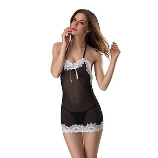 Women's Lingerie Dress Lace Babydoll Mesh Chemise Sleepwear V-neck Nightgown