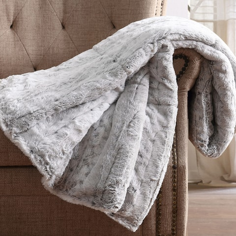 Christian Siriano NY® 60 x 70 Oversized Snow Leopard Grey Faux Fur Filled Throw