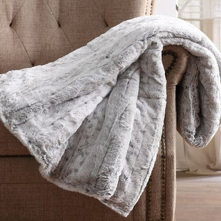 Link to Christian Siriano NY® 60 x 70 Oversized Snow Leopard Grey Faux Fur Filled Throw Similar Items in Blankets & Throws