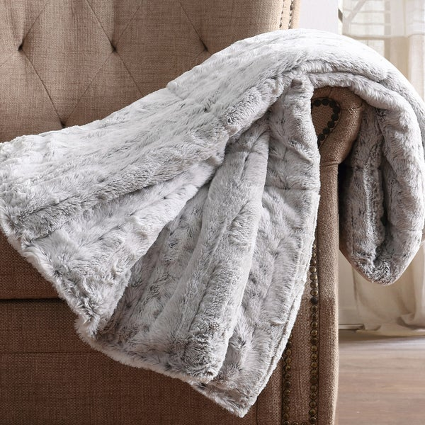 Christian Siriano NY® 60 x 70 Oversized Snow Leopard Grey Faux Fur Filled Throw. Opens flyout.