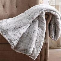 Christian Siriano 60 x 70 Oversized Snow Leopard Grey Faux Fur Filled Throw