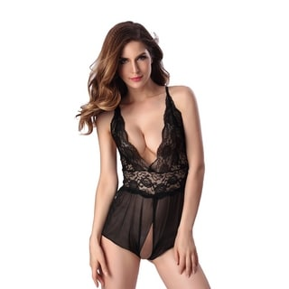 Women Lingerie Lace Babydoll One Piece Jumpsuit Pant Dress