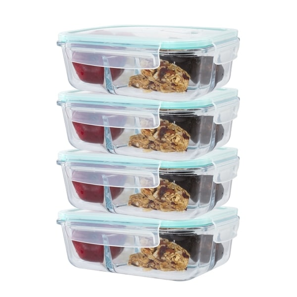 Glass Food Storage Containers With Locking Lids Enchanting Shop 60 Pack 60 Divider Compartment Glass Meal Prep Container Locking