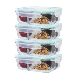 4 Pack 3 Divider Compartment Glass Meal Prep Container Locking Lid