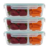 3 Pack 3 Divider Compartment  Glass Meal Prep Container Locking Lid