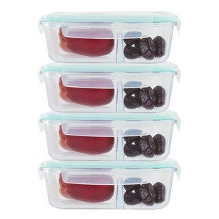 4 Pack 2 Divider Compartment Glass Meal Prep Container / Locking Lid