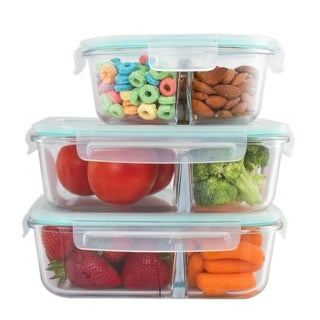 3 Pack 3 Divider Compartment Glass Meal Prep Container Locking Lid MIX