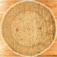"Tabriz Collection Hand-Knotted Beige/Gold Wool Area Rug (11'11"" X 11'11"")"