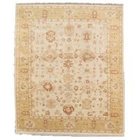 """Oushak Collection Hand-Knotted Ivory/Gold Wool Area Rug (11' 5"""" X 11'10"""")"""