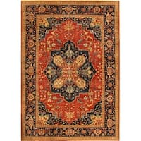 "Pasargad Serapi Hand-Knotted Rust/Navy Wool Area Rug ( 9'10"" X 10' 2"")"