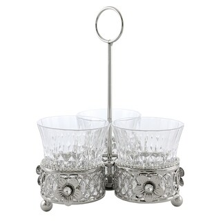 Jeweled 3 section utensil holder with handle