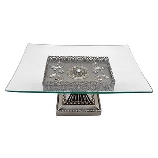 Rectangular glass serving platter on silver metal base