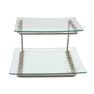 Two tier jeweled serving platter with glass