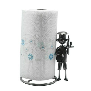 Metal paper towel holder with boy chef character