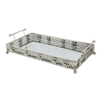Jeweled rectangular serving tray with handles