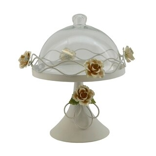 Metal round cake plate with glass dome cover
